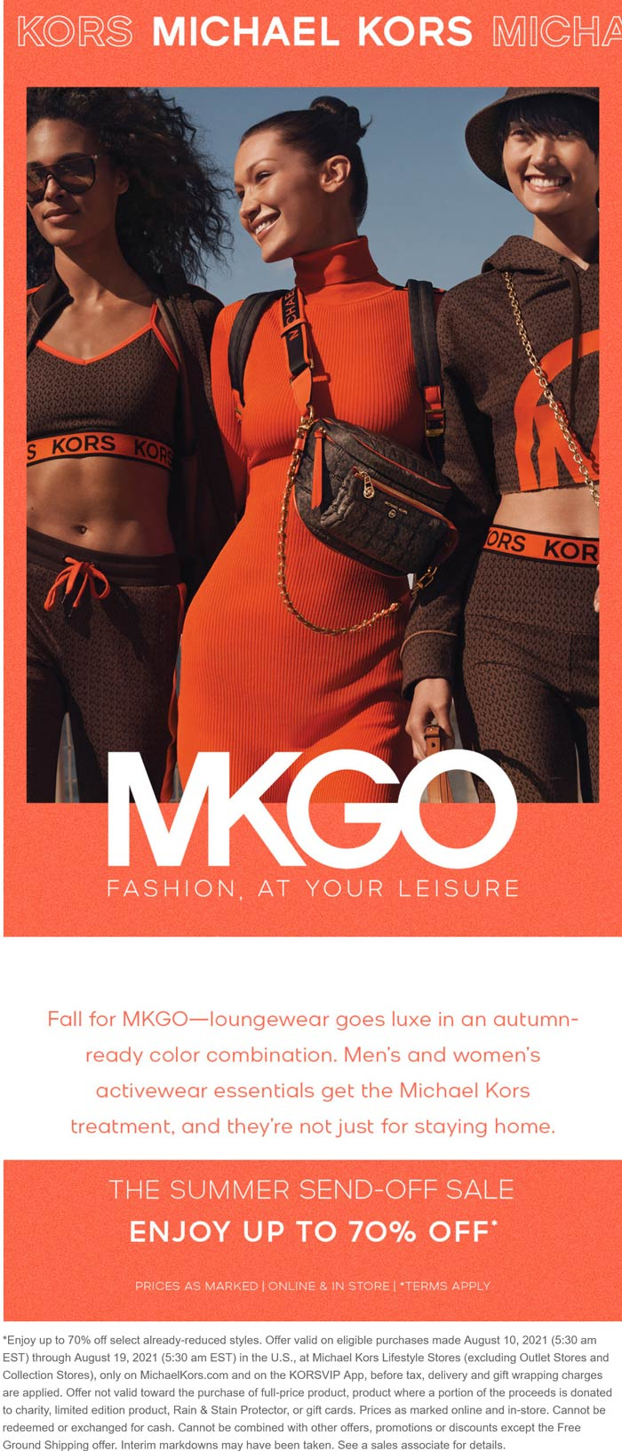 Michael Kors stores Coupon  70% off sale items clearance going on at Michael Kors ditto online #michaelkors