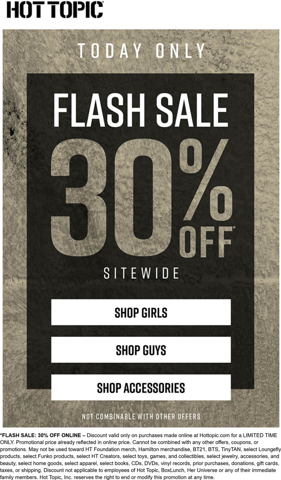 Hot Topic stores Coupon  30% off everything online today at Hot Topic #hottopic
