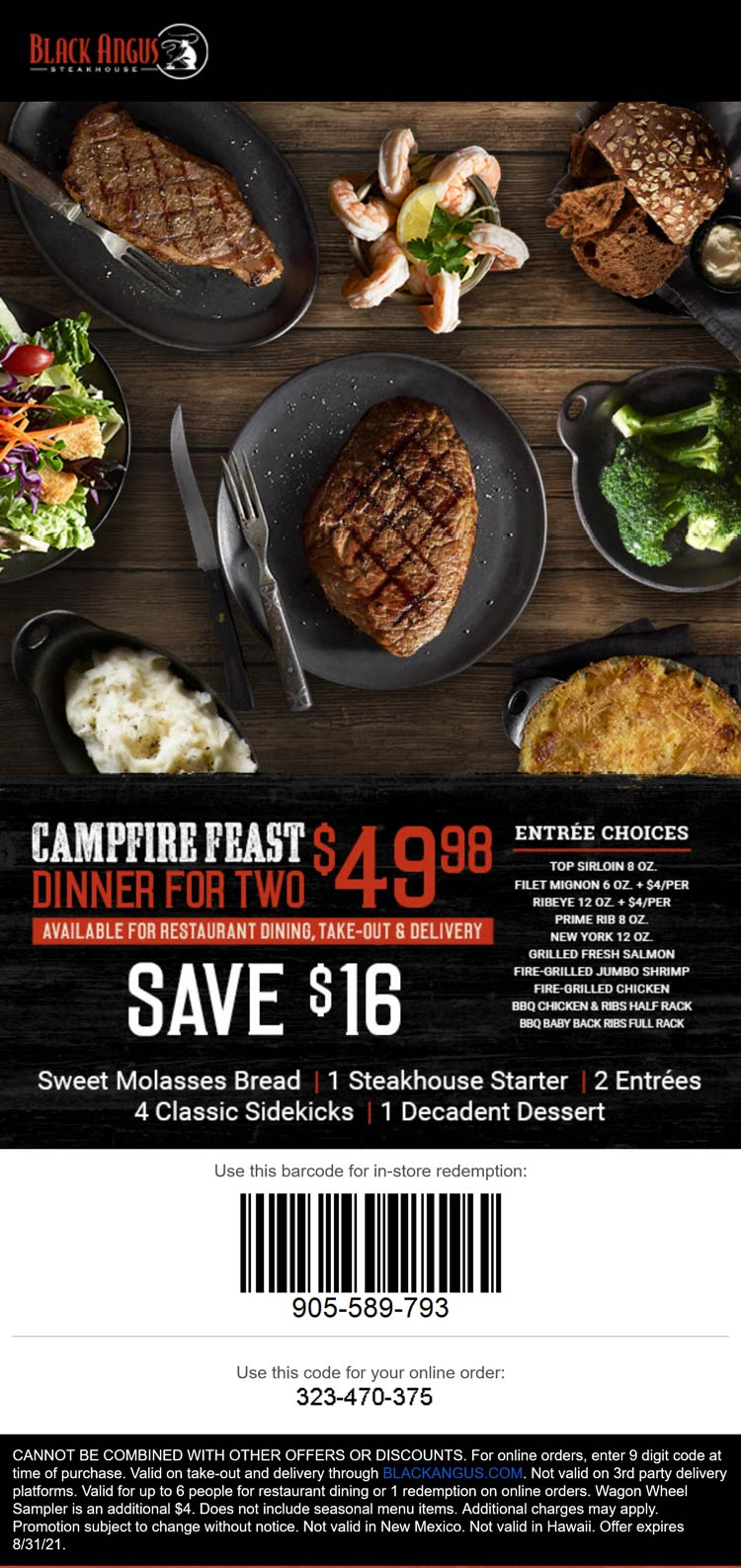 Black Angus restaurants Coupon  $16 off campfire feast dinner for 2 at Black Angus Steakhouse #blackangus