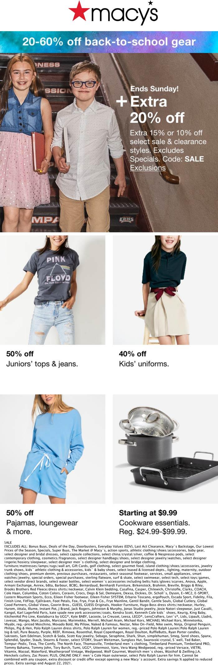 Macys stores Coupon  Extra 10-20% off at Macys, or online via promo code SALE #macys