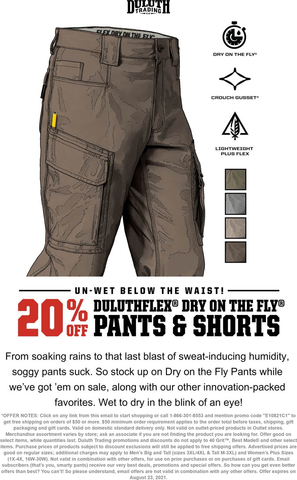 Duluth Trading Co stores Coupon  20% off dry on the fly pants & shorts at Duluth Trading Co #duluthtradingco