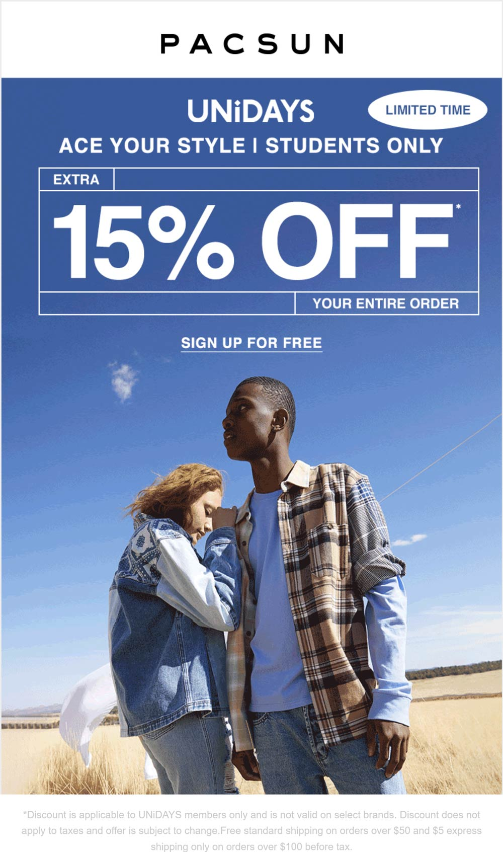 Pacsun stores Coupon  Extra 15% off for UNiDAYS members at Pacsun #pacsun