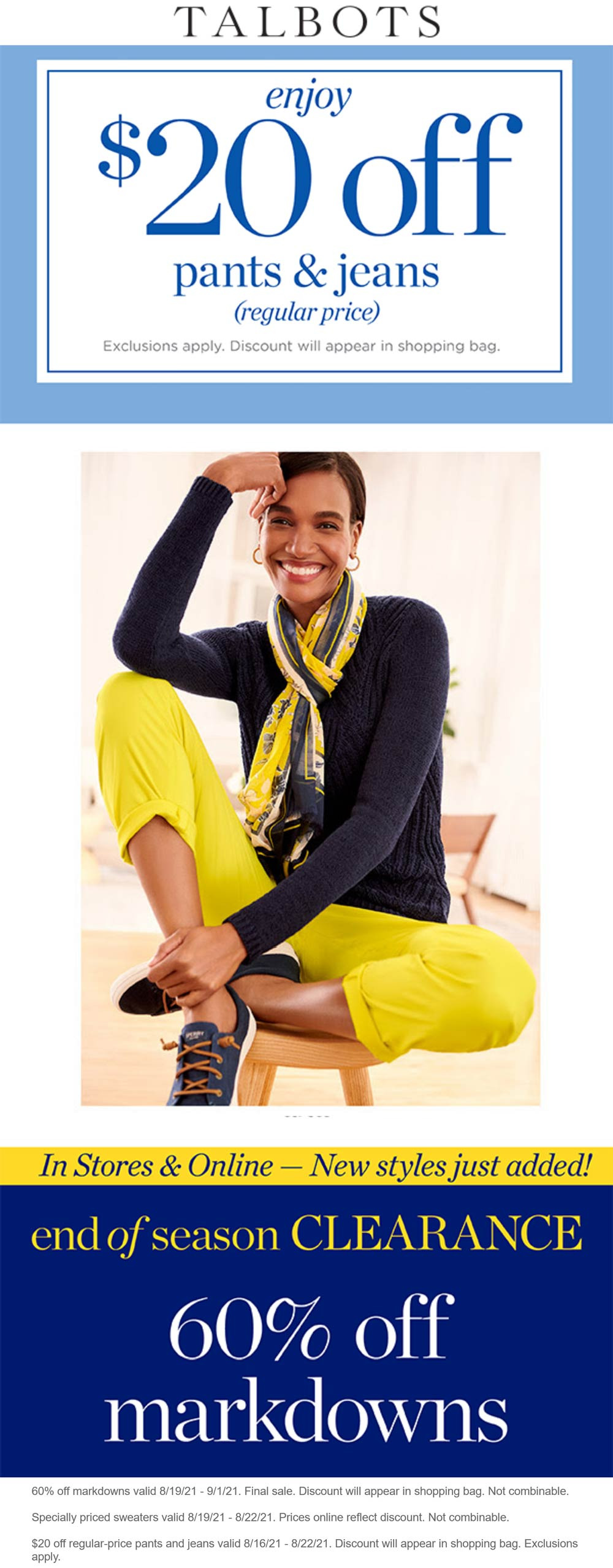 Talbots stores Coupon  $20 off pants & jeans at Talbots, ditto online #talbots