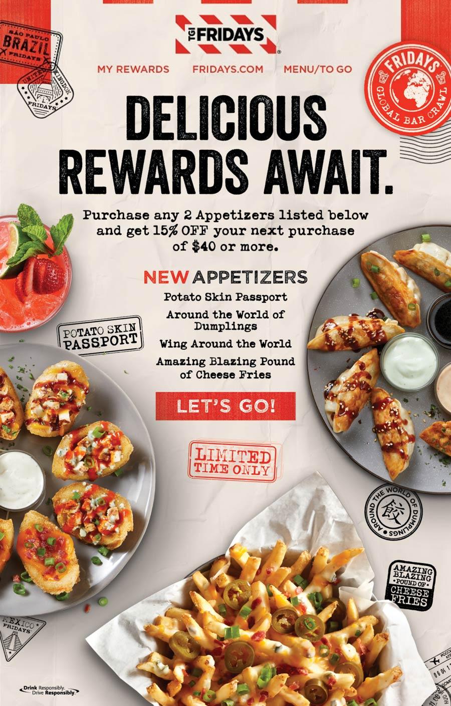 TGI Fridays restaurants Coupon  15% off $40 with 2 appetizer purchase at TGI Fridays #tgifridays
