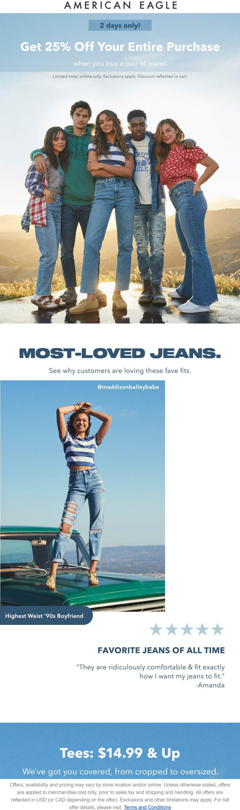 American Eagle stores Coupon  25% off everything with your jeans online at American Eagle #americaneagle