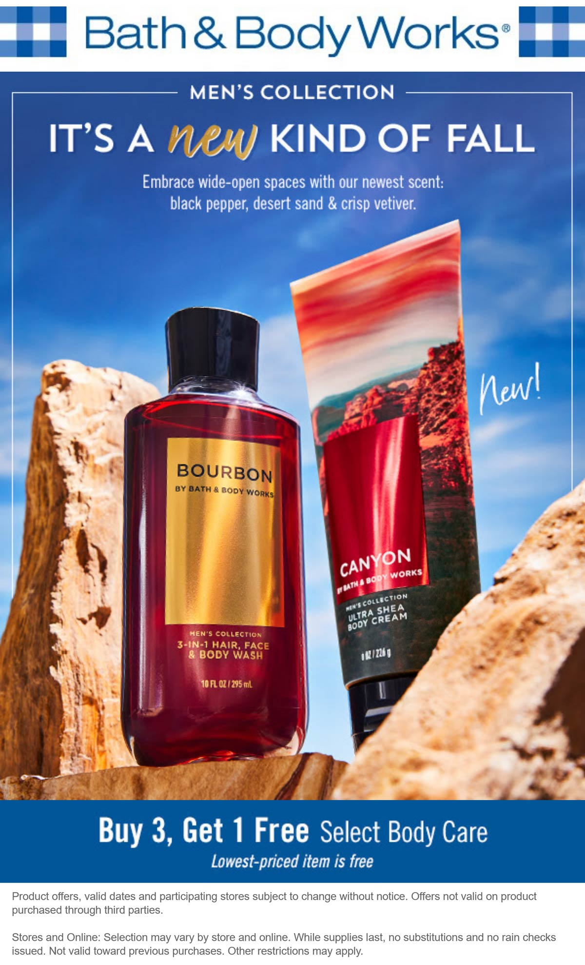 Bath & Body Works stores Coupon  4th body care item free at Bath & Body Works, ditto online #bathbodyworks