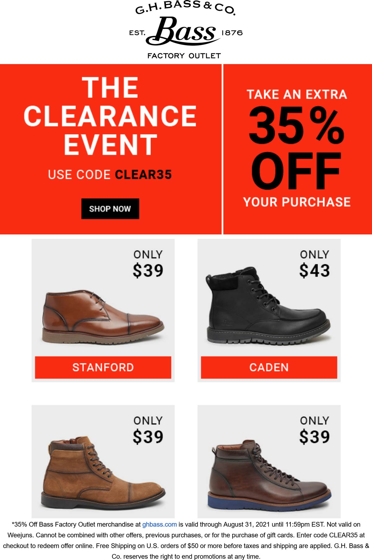 Bass Factory Outlet stores Coupon  Extra 35% off at Bass Factory Outlet via promo code CLEAR35 #bassfactoryoutlet