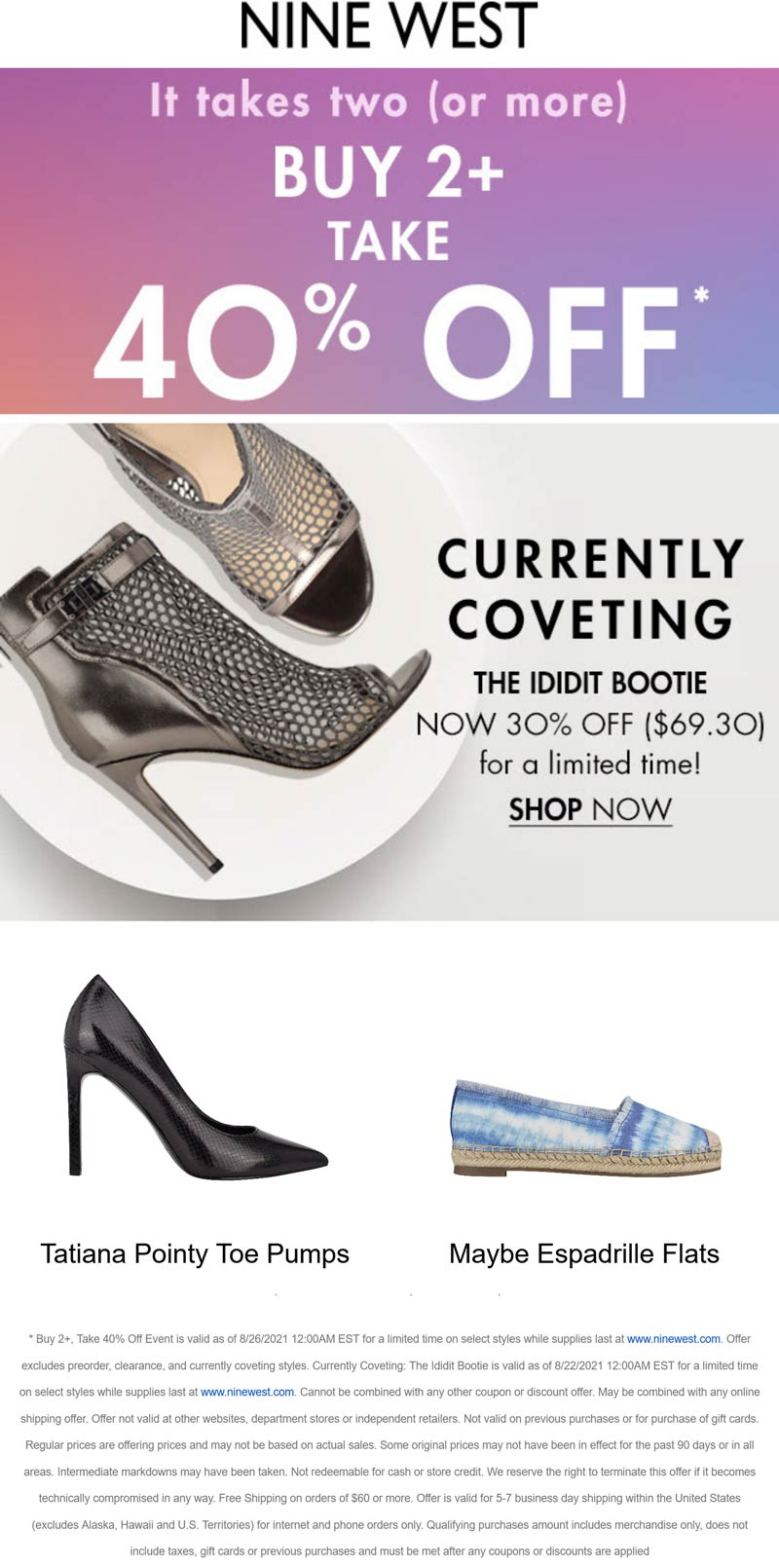 Nine West stores Coupon  40% off 2+ pair shoes at Nine West #ninewest