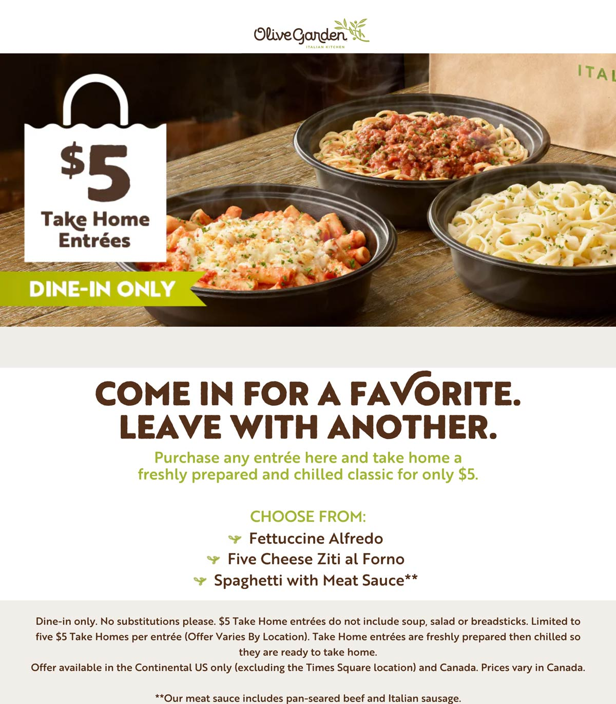 Olive Garden restaurants Coupon  $5 take home entrees with your dine-in meal at Olive Garden #olivegarden