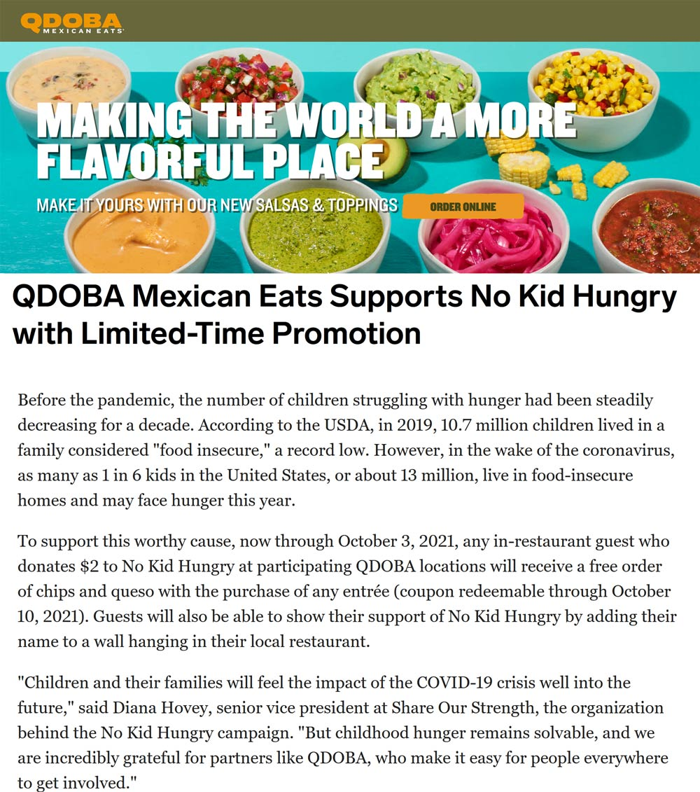 Qdoba restaurants Coupon  $2 donation for chips & queso with your entree at Qdoba restaurants #qdoba