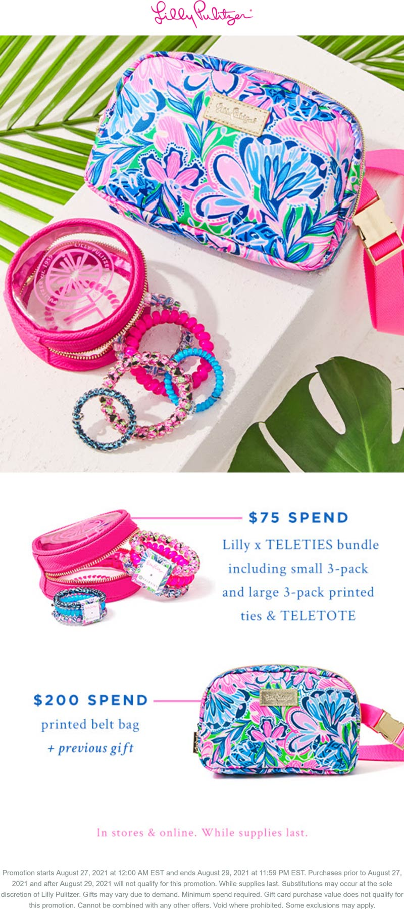 Lilly Pulitzer stores Coupon  Free 6pk hair ties & belt bag with $200 spent at Lilly Pulitzer, ditto online #lillypulitzer