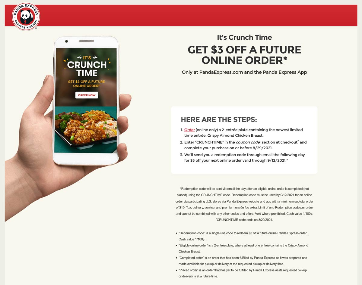 Panda Express restaurants Coupon  $3 off future order with your almond chicken breast at Panda Express via promo code CRUNCHTIME #pandaexpress