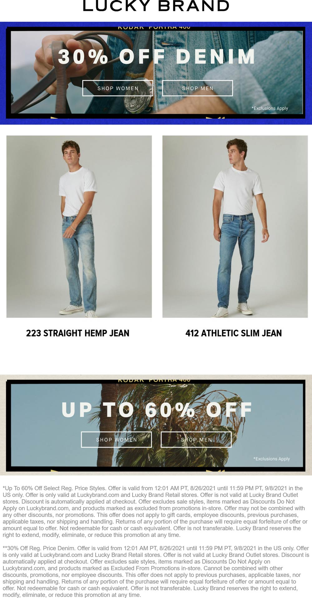 Lucky Brand stores Coupon  30% off denim & more at Lucky Brand, ditto online #luckybrand