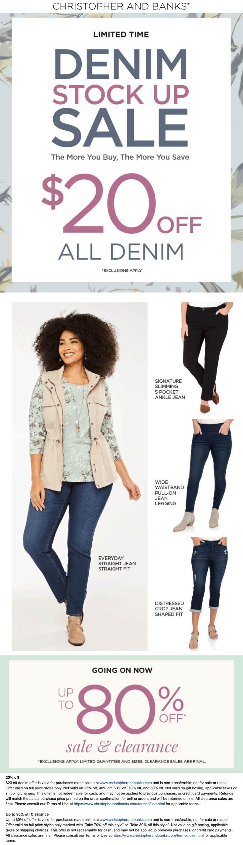 Christopher and Banks stores Coupon  $20 off all denim & more at Christopher and Banks #christopherandbanks