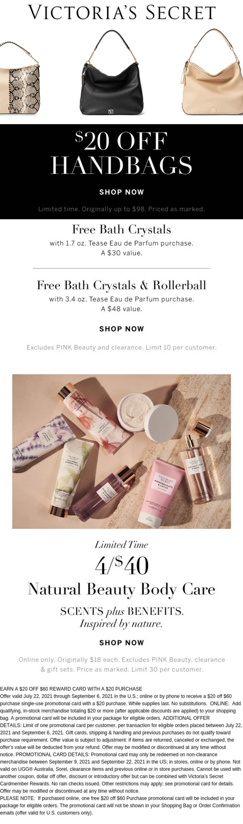 Victorias Secret stores Coupon  $20 off handbags & free bath crystals with your fragrance at Victorias Secret #victoriassecret