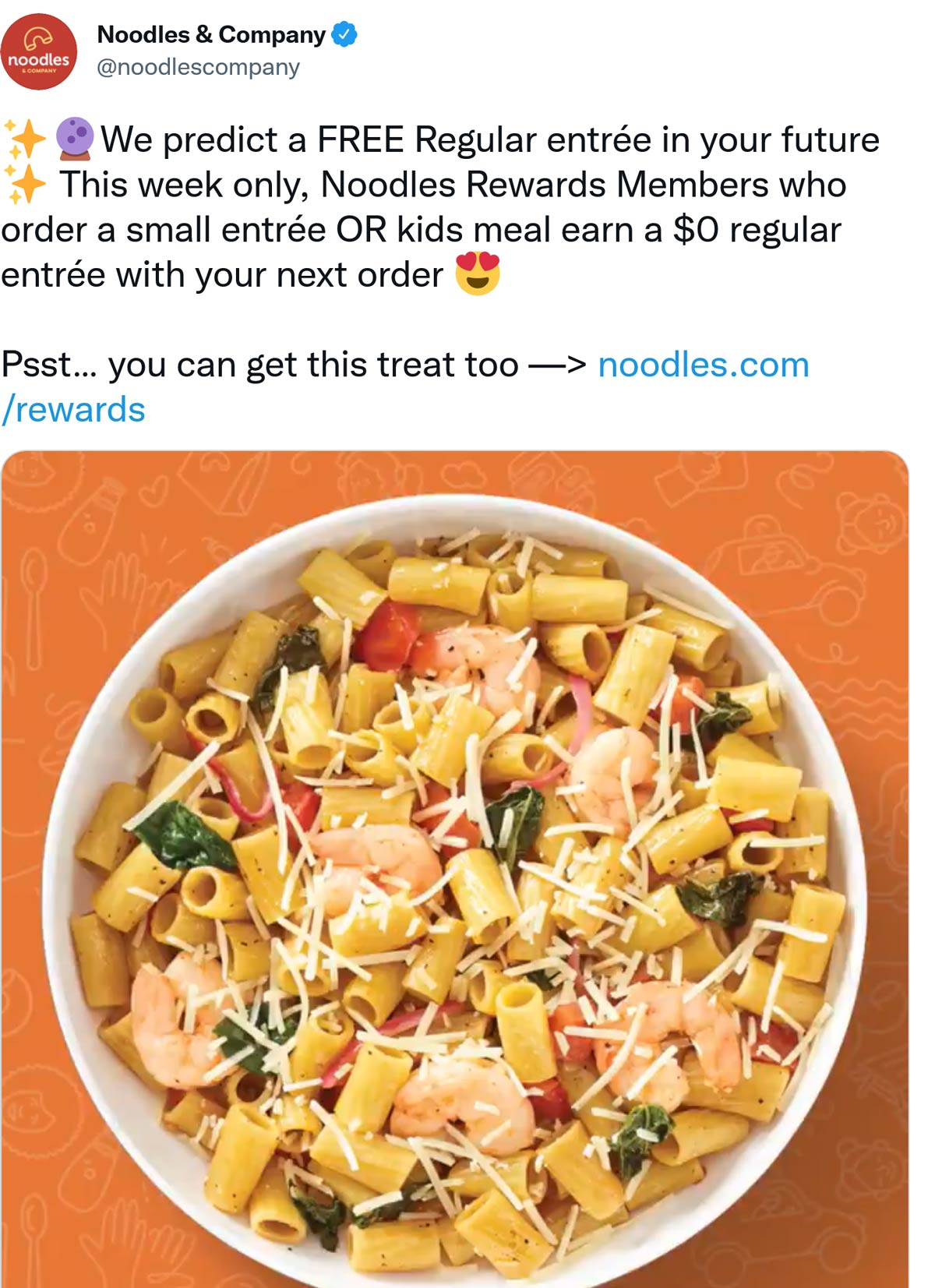 Noodles & Company restaurants Coupon  Second followup entree free at Noodles & Company #noodlescompany