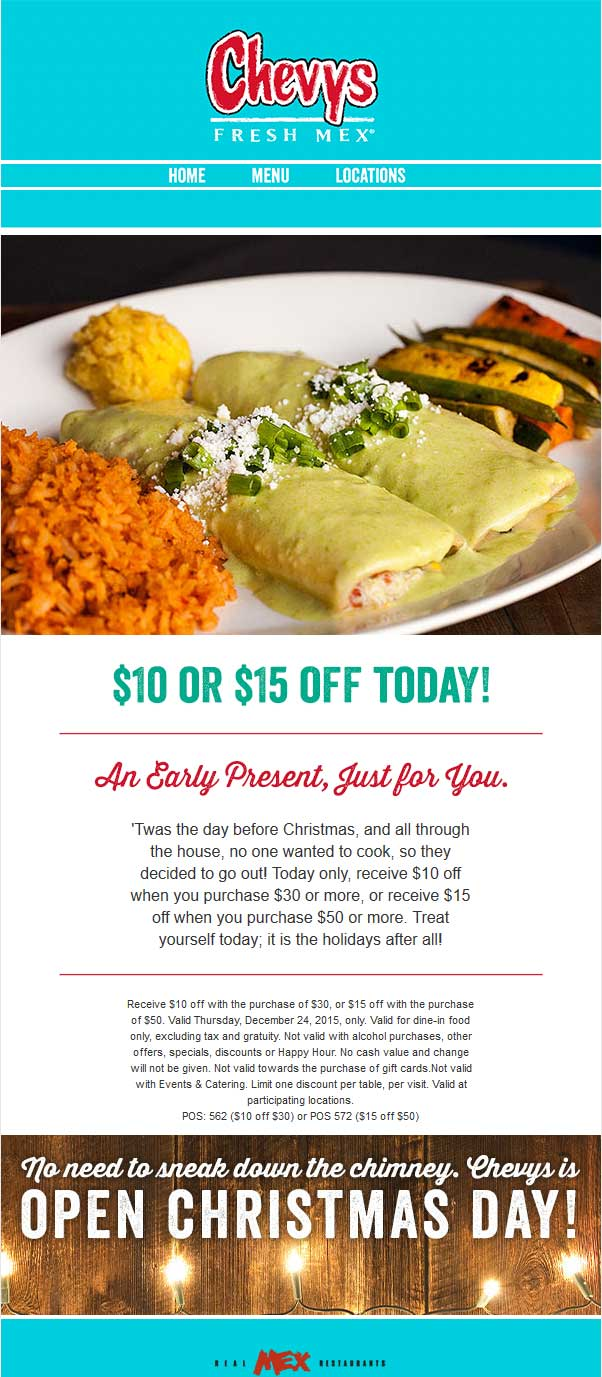 Chevys Fresh Mex is a small restaurant chain focusing on fresh Mexican food, served in a casual dining setting. Founded in the early s, there are currently over 50 locations that carry the Chevys name and most of these can be found in the Southwest.