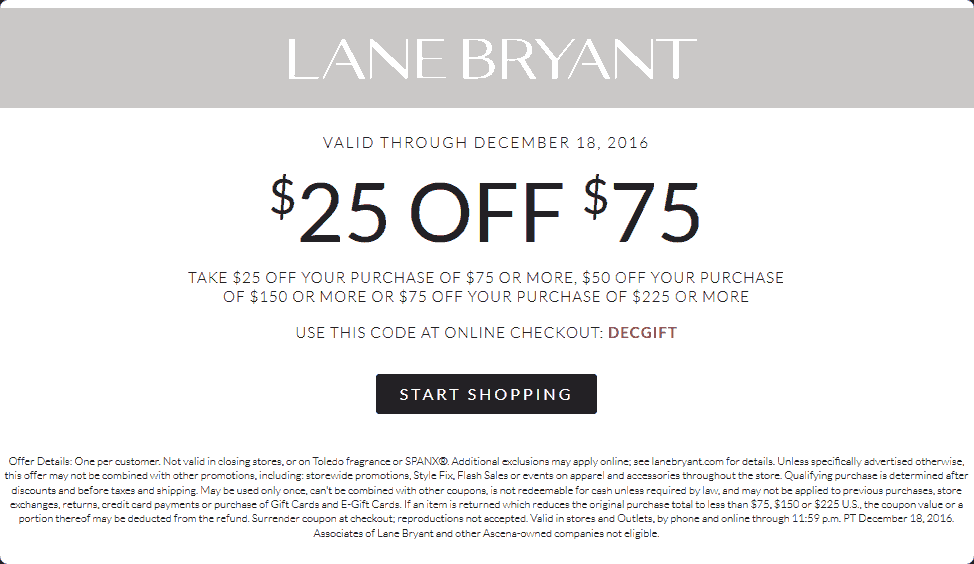 These Lane Bryant coupons can help you save on plus-sized suits, dresses, activewear, loungewear and more! And you can find the perfect Lane Bryant coupon 5/5(9).
