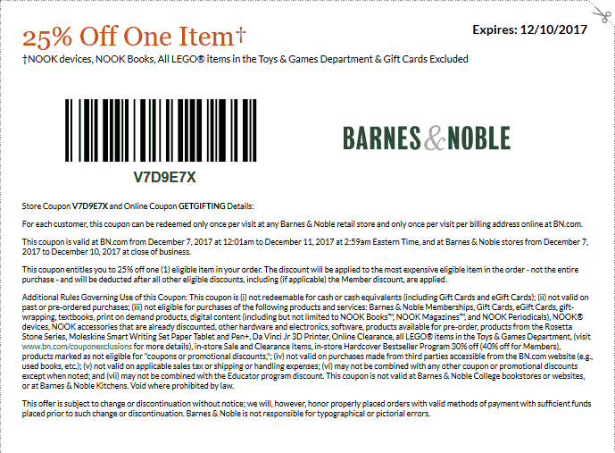 Barnes & Noble deals and discounts for 10/29/12222