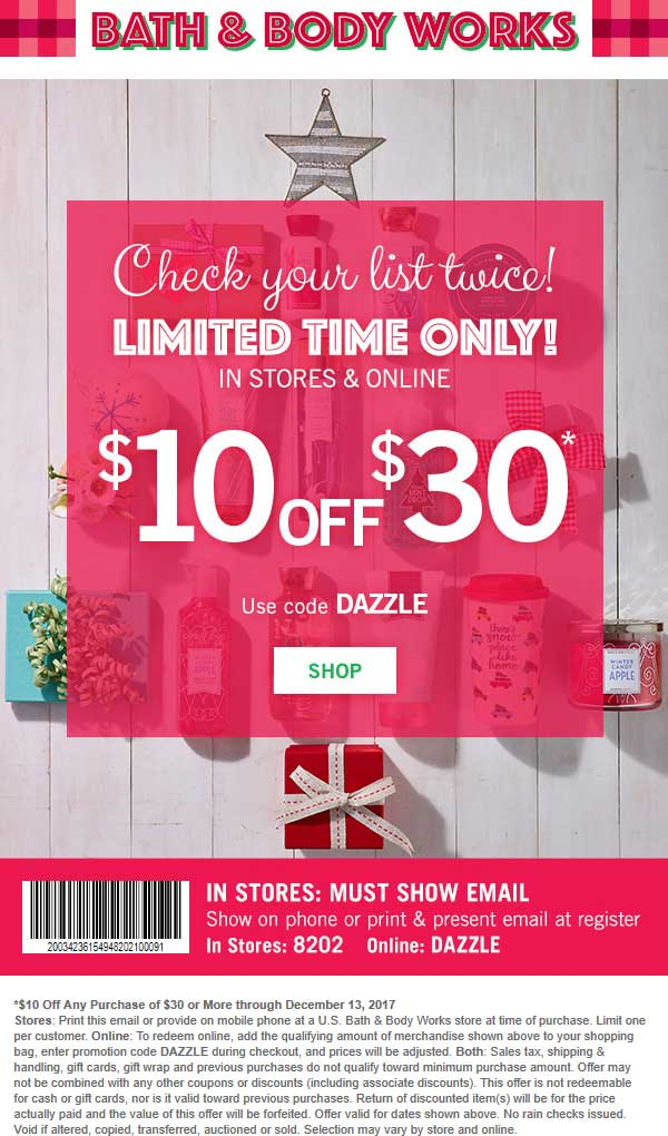 Bath & Body Works Coupon February 2021 $10 off $30 today at Bath & Body Works, or online via promo code DAZZLE