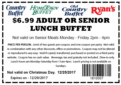 graphic regarding Old Country Buffet Printable Coupons Buy One Get One Free named The Hometown Buffet Coupon codes Home furnishings Designs