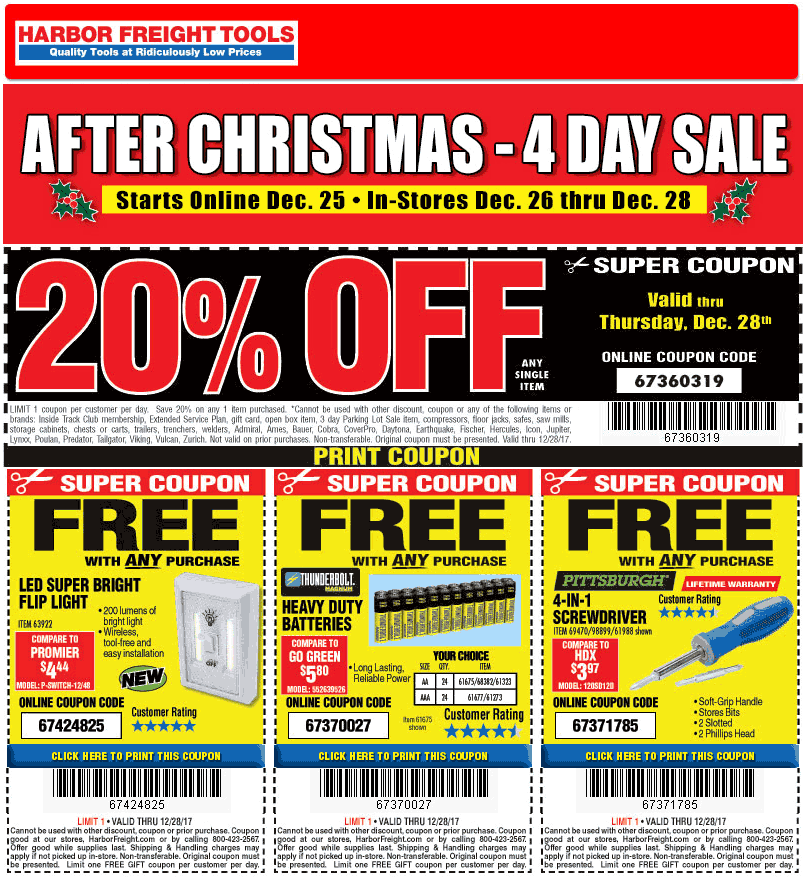 Harbor Freight Tools Coupons Free Stuff 20 Off A