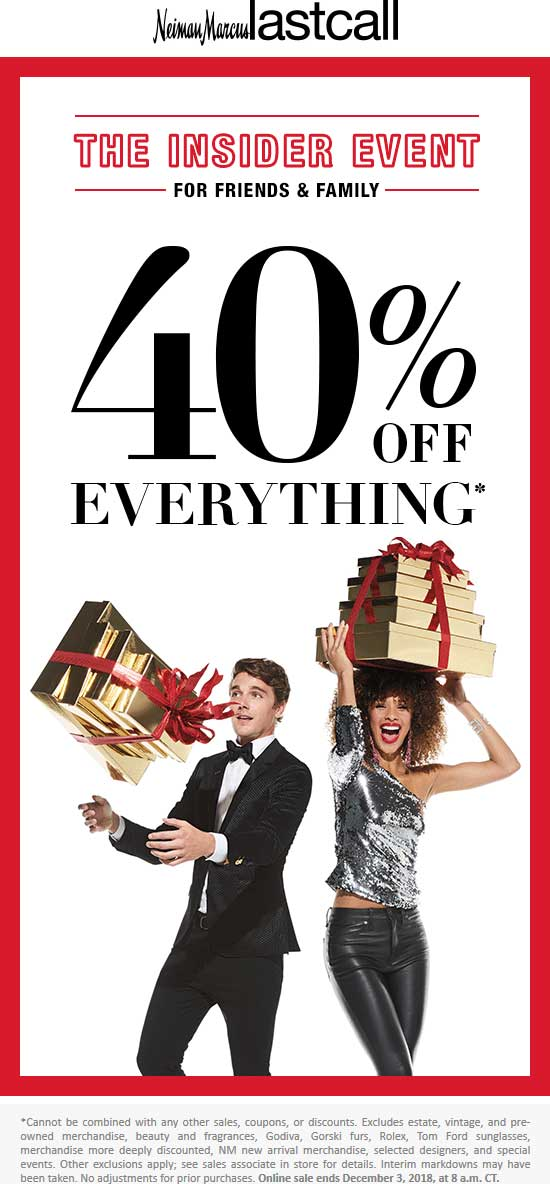 Last Call Coupon May 2020 30-40% off everything at Neiman Marcus Last Call, ditto online