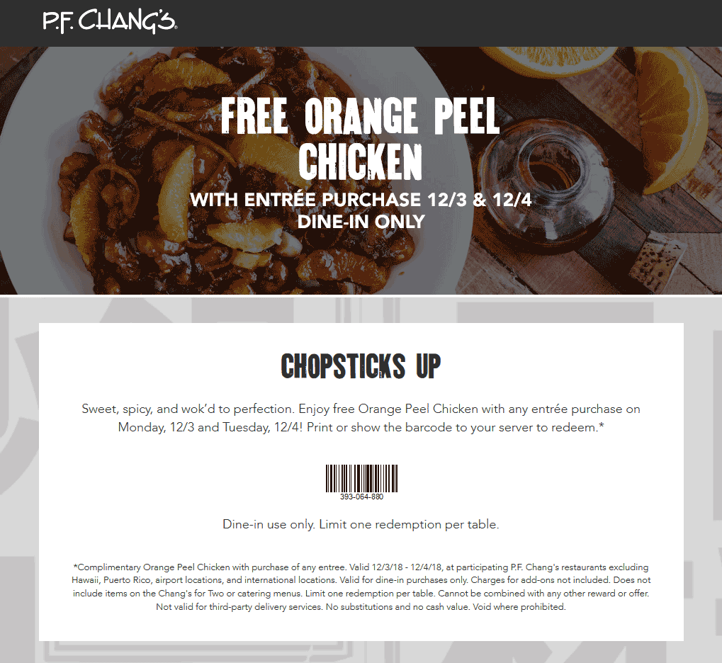 P.F. Changs Coupon May 2020 Free orange chicken with your entree at P.F. Changs