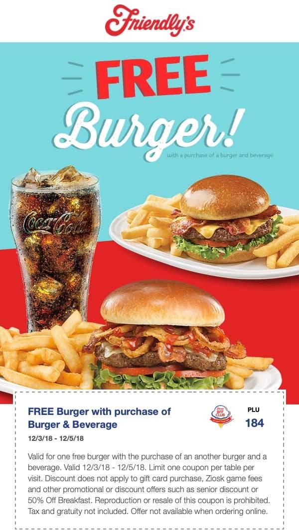 Friendlys Coupon May 2020 Second burger free at Friendlys restaurants