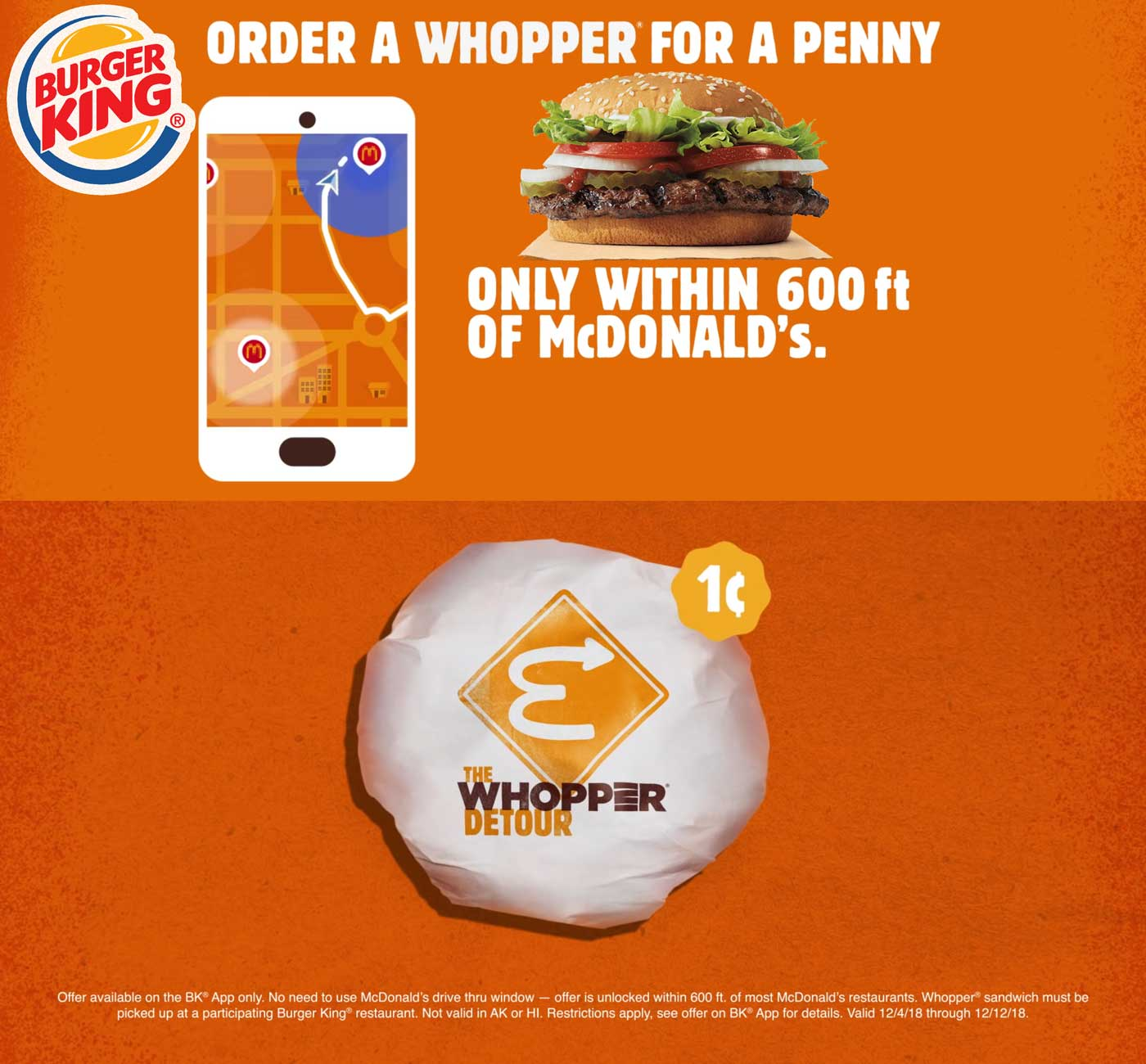 Burger King Coupons - Whopper for a penny via Burger King app