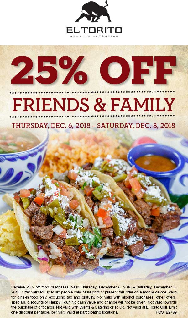 El Torito coupons & promo code for [July 2020]