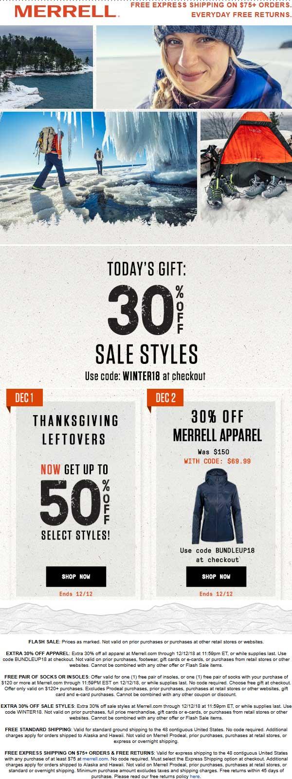 Merrell Coupon May 2020 Extra 30% off sale items online at Merrell via promo code BUNDLEUP18