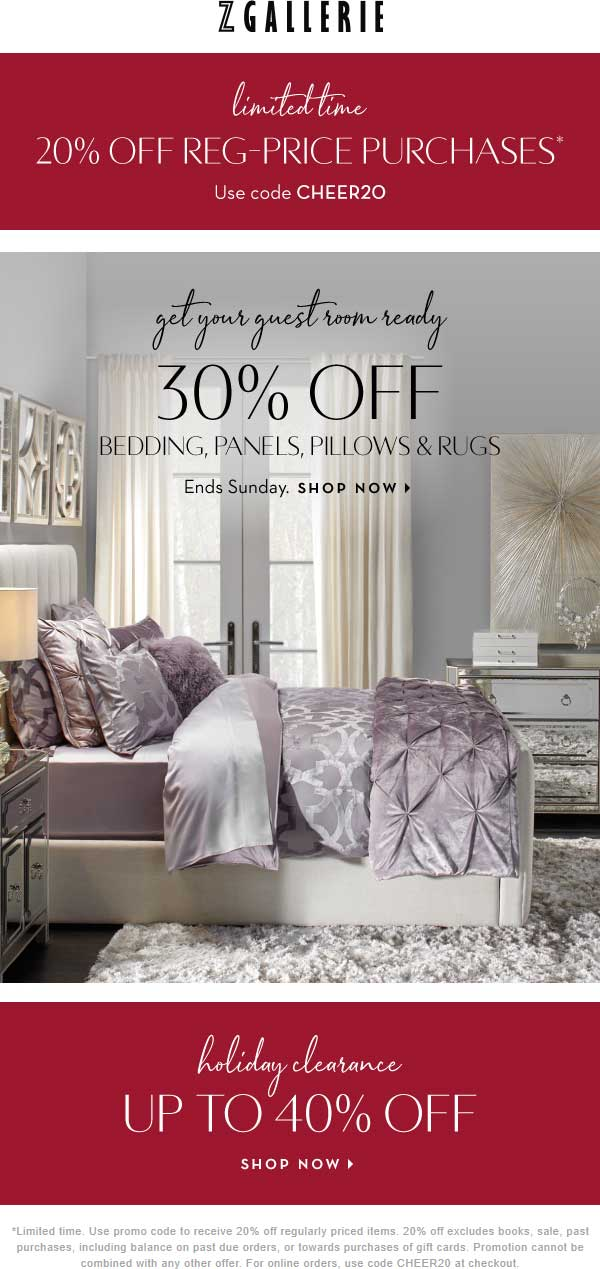 Z Gallerie Coupon May 2020 20% off & more at Z Gallerie, or online via promo code CHEER20