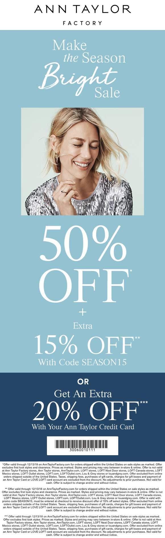 Ann Taylor Factory Coupon May 2020 65% off online at Ann Taylor Factory via promo code SEASON15