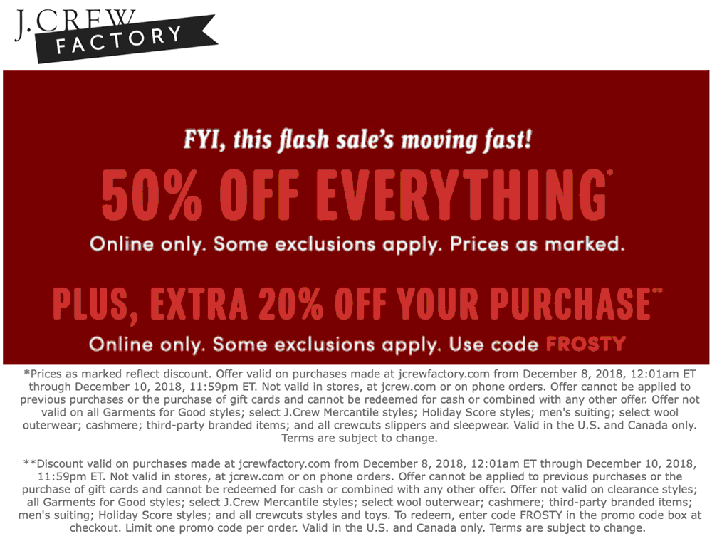 J.Crew Factory Coupon July 2020 70% off online today at J.Crew Factory via promo code FROSTY