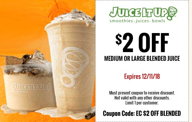 Juice It Up Coupon May 2020 $2 off blended juice at Juice It Up
