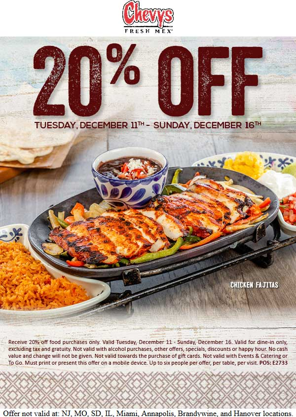 Chevys coupons & promo code for [July 2020]