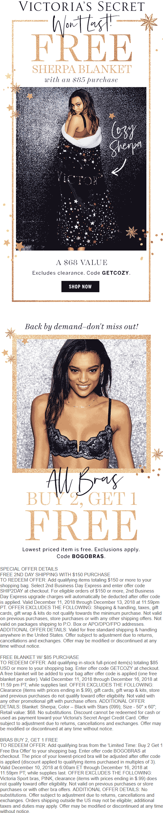 Victorias Secret Coupon August 2020 Free $68 sherpa blanked with $85 spent at Victorias Secret via promo code GETCOZY