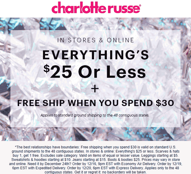 Charlotte Russe coupons & promo code for [April 2020]