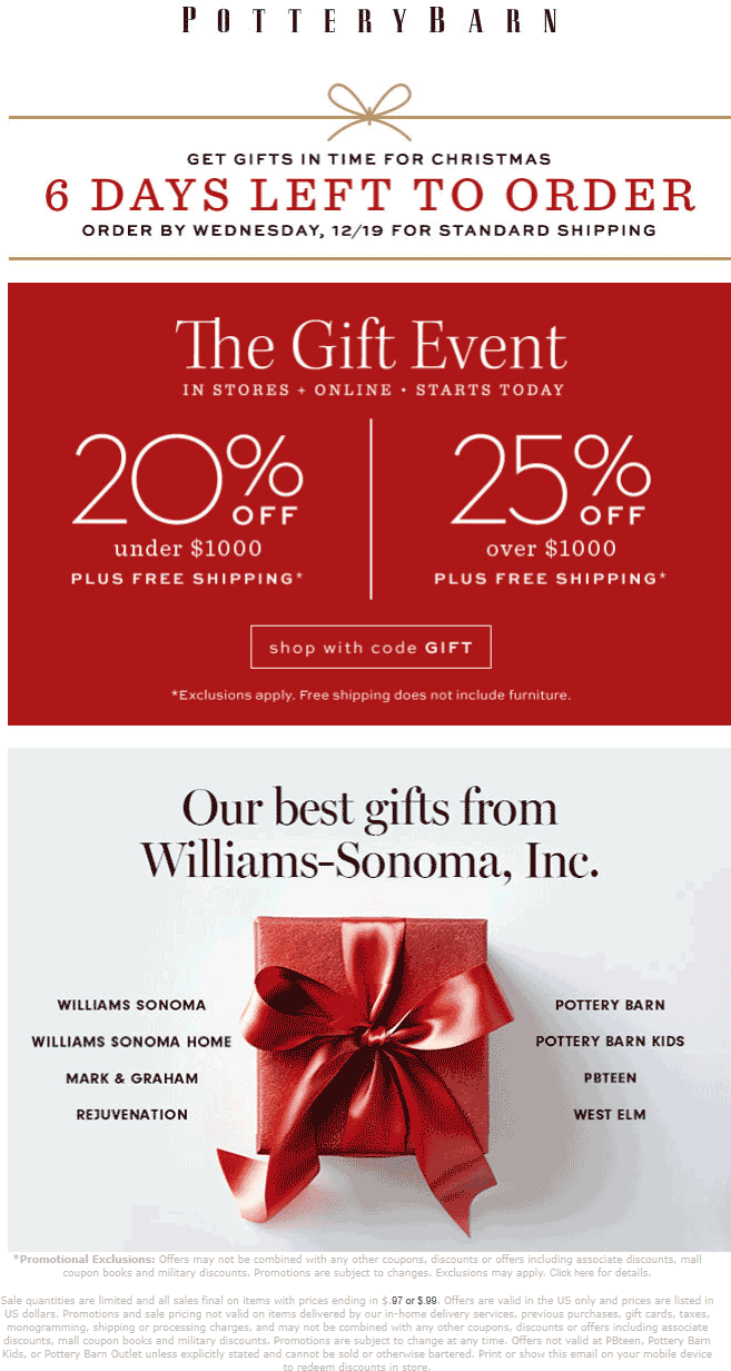Pottery Barn coupons & promo code for [April 2020]
