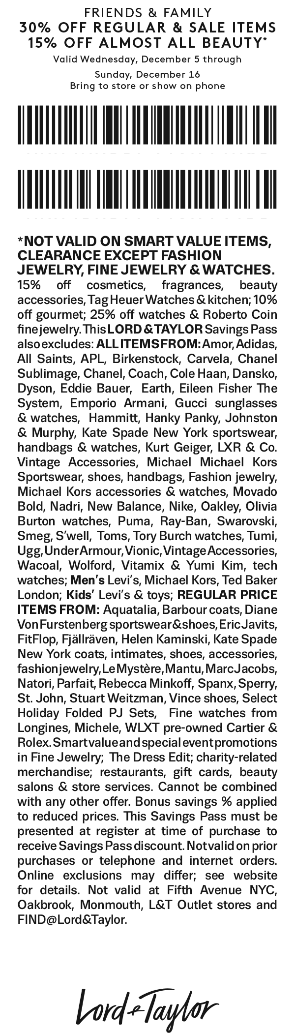 Lord & Taylor Coupon May 2020 30% off at Lord & Taylor, or online via promo code FRIENDS