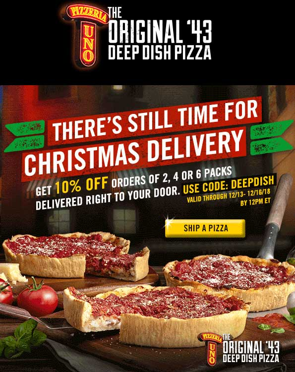 Pizzeria Uno Coupon August 2020 10% off frozen deep dish pizza overnight delivered from Pizzeria Uno