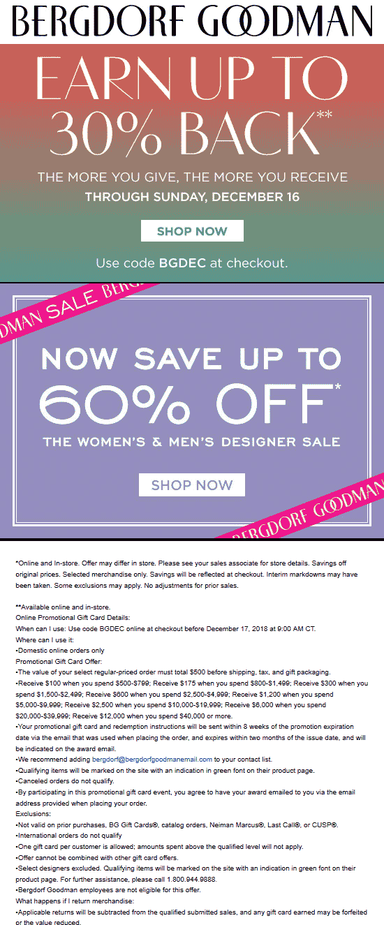 Bergdorf Goodman coupons & promo code for [April 2020]