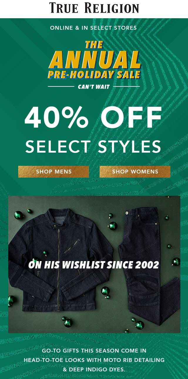 True Religion Coupon May 2020 40% off various items at True Religion, ditto online
