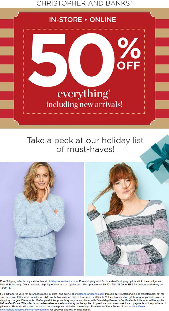 Christopher And Banks Coupon July 2020 50% off everything today at Christopher and Banks, ditto online