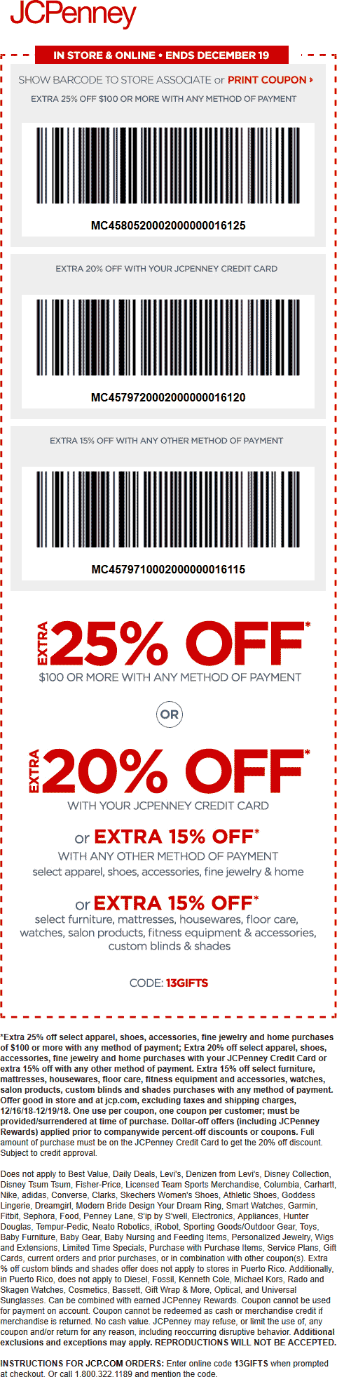 JCPenney Coupon May 2020 25% off $100 at JCPenney, or online via promo code 13GIFTS