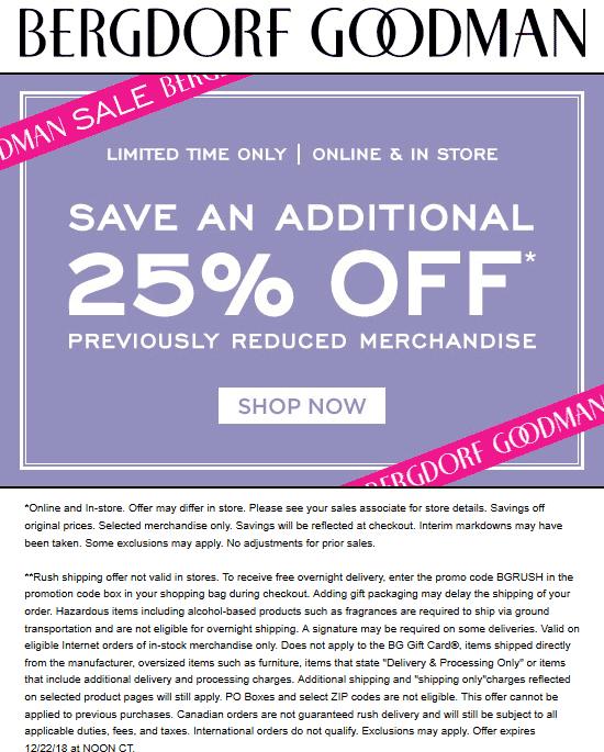Bergdorf Goodman coupons & promo code for [April 2020]
