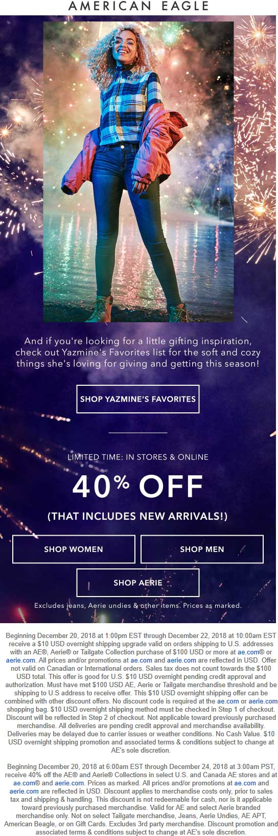 American Eagle Coupon July 2020 40% off at American Eagle, ditto online