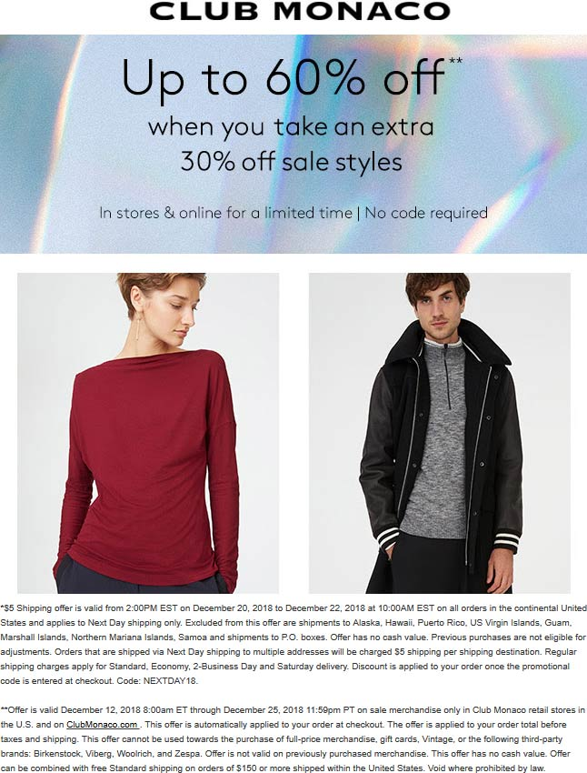 Club Monaco Coupon August 2020 Extra 30% off sale items at Club Monaco, ditto online