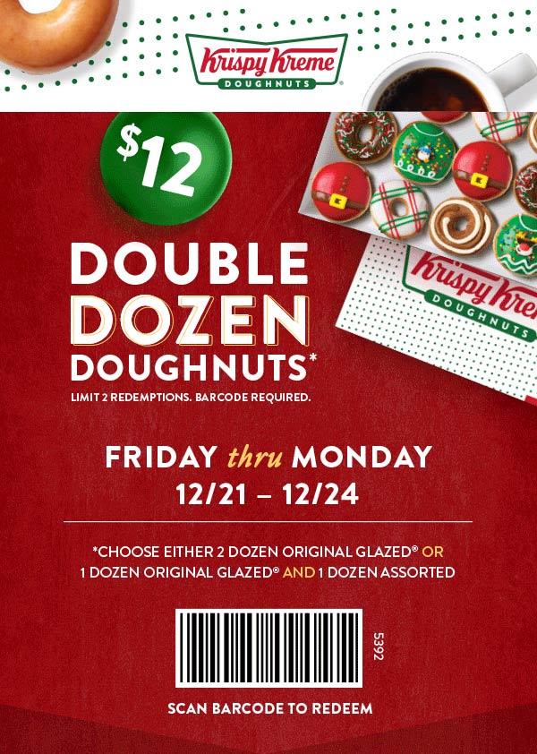Krispy Kreme Coupon August 2020 2 dozen doughnuts for $12 at Krispy Kreme